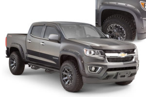 Bushwacker - 40970-02 - FENDER FLARES POCKET STYLE 4PC 2015-2018 CHEVROLET COLORADO 74.0in BED BLACK
