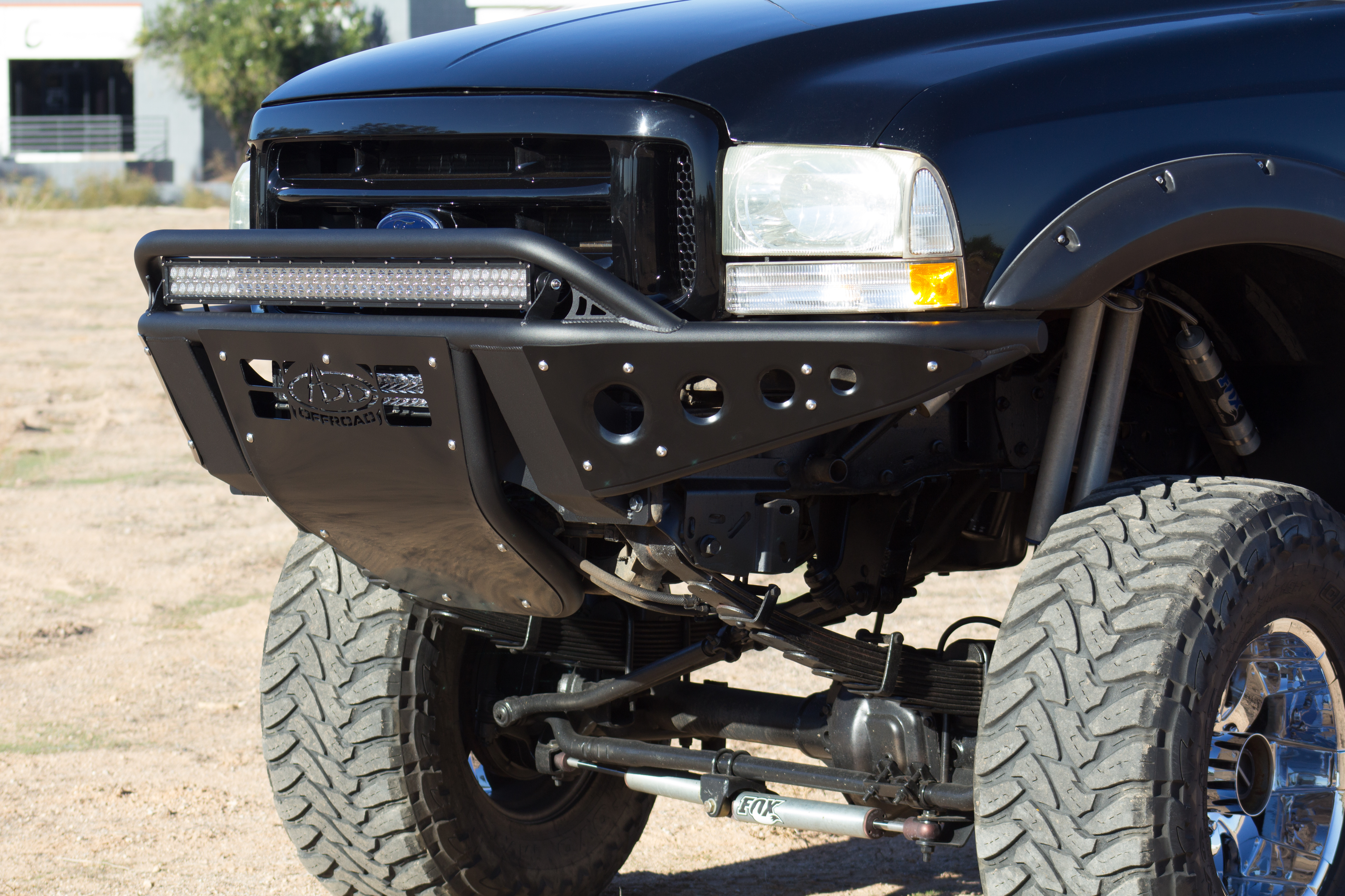 1999 - 2007 Ford Excursion Standard Front Bumper with Stealth Panels and 40 light bar mounts in Hammer Black with Satin Black panels