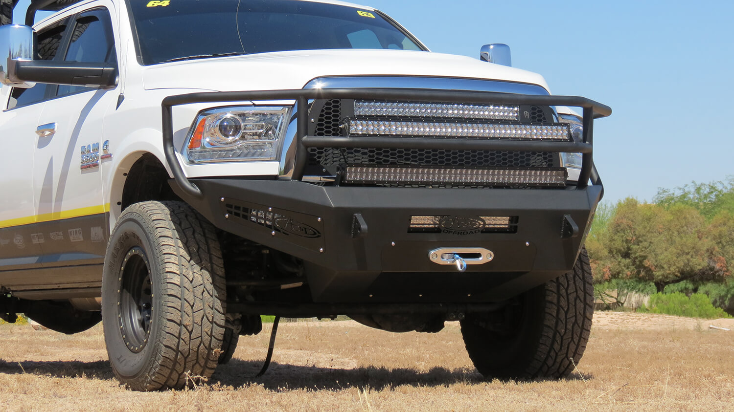 2003 2009 Dodge Ram 2500 3500 Standard Front Bumper With Stealth Led Light Bar 2010 2017 Honeybadger Rancher Winch Mounts And